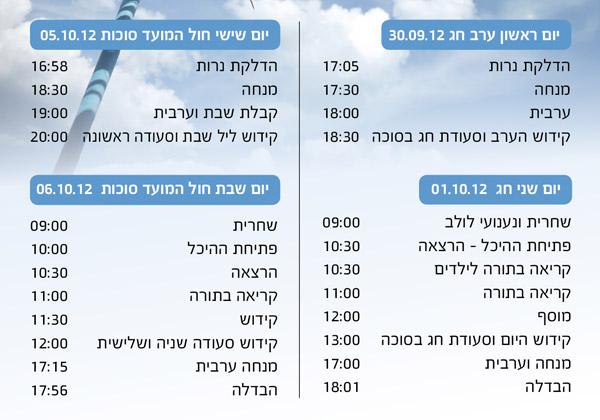 סוכות 2012 - לוח זמנים