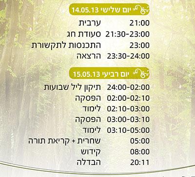 לוח זמנים - שבועות 2013
