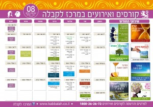 לוח קורסים ואירועים במרכז לקבלה חיפה, חודש אוגוסט 2015