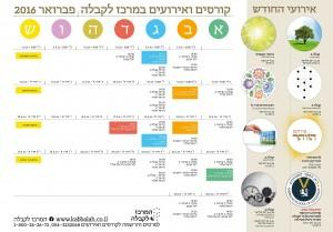 לוח קורסים ואירועים במרכז לקבלה חיפה פברואר 2016