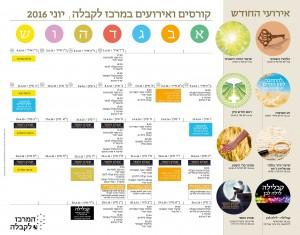לוח קורסים ואירועים במרכז לקבלה תל אביב יוני 2016