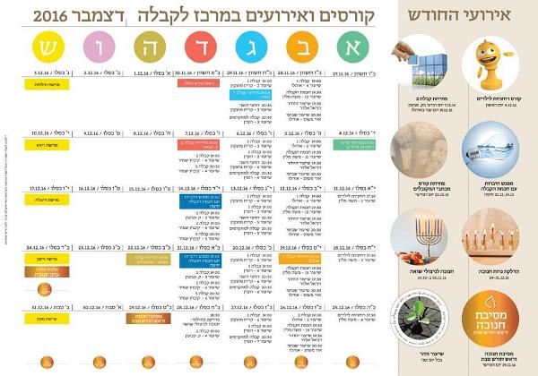 לוח קורסים ואירועים: המרכז לקבלה חיפה – דצמבר 2016
