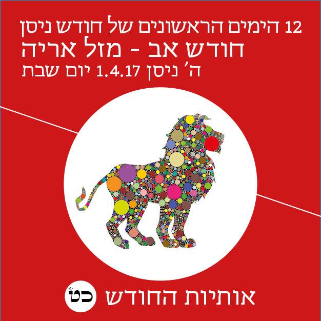12 הימים הראשונים של חודש ניסן יום 5, חודש אב מזל אריה. יום שבת ,1 באפריל, 2017 ה' ניסן